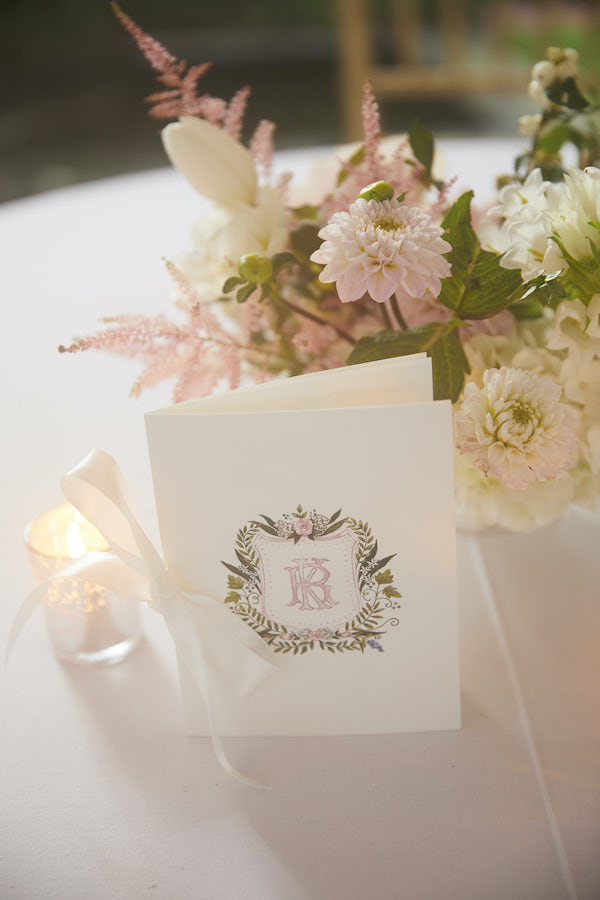 Monogrammed placement cards and table setting