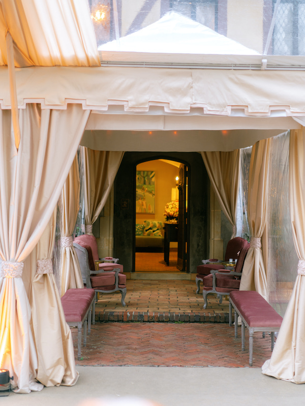 Tent wedding venue with covered entryway