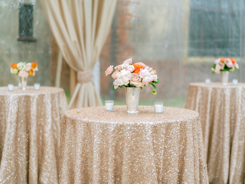outdoors tent venue with table setup
