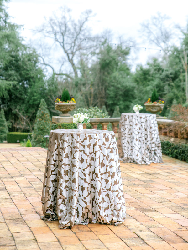 Outdoors wedding reception table setting